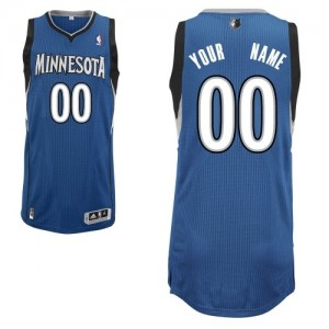 Maillot NBA Slate Blue Authentic Personnalisé Minnesota Timberwolves Road Homme Adidas