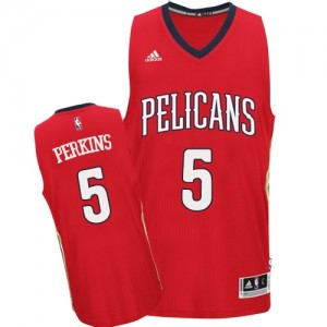 Maillot NBA New Orleans Pelicans #5 Kendrick Perkins Rouge Adidas Swingman Alternate - Homme