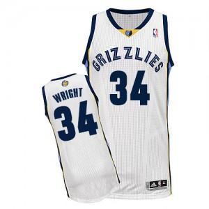 Memphis Grizzlies #34 Adidas Home Blanc Authentic Maillot d'équipe de NBA la vente - Brandan Wright pour Homme