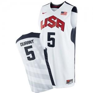 Maillot NBA Team USA #5 Kevin Durant Blanc Nike Swingman 2012 Olympics - Homme