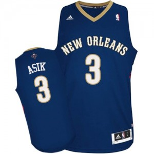 Maillot Authentic New Orleans Pelicans NBA Road Bleu marin - #3 Omer Asik - Homme