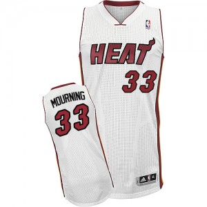 Maillot NBA Blanc Alonzo Mourning #33 Miami Heat Home Authentic Homme Adidas