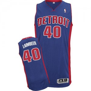 Maillot NBA Authentic Bill Laimbeer #40 Detroit Pistons Road Bleu royal - Homme