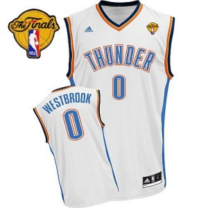 Maillot NBA Swingman Russell Westbrook #0 Oklahoma City Thunder Home Finals Patch Blanc - Homme