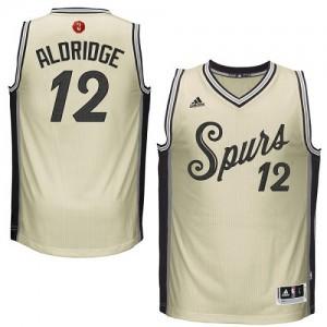 San Antonio Spurs #12 Adidas 2015-16 Christmas Day Crème Authentic Maillot d'équipe de NBA en ligne - LaMarcus Aldridge pour Homme