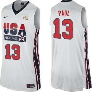 Team USA #13 Nike 2012 Olympic Retro Blanc Authentic Maillot d'équipe de NBA Soldes discount - Chris Paul pour Homme