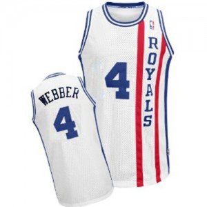 Maillot NBA Blanc Chris Webber #4 Sacramento Kings Throwback Authentic Homme Adidas