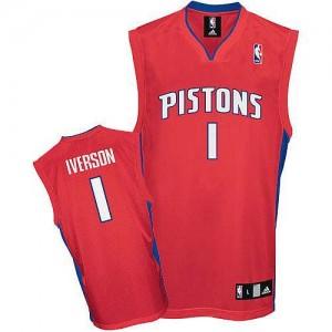 Maillot Adidas Rouge Authentic Detroit Pistons - Allen Iverson #1 - Homme