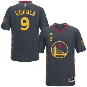 Maillot NBA Golden State Warriors #9 Andre Iguodala Noir Adidas Authentic Slate Chinese New Year - Homme