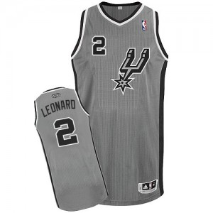 Maillot NBA Gris argenté Kawhi Leonard #2 San Antonio Spurs Alternate Authentic Enfants Adidas