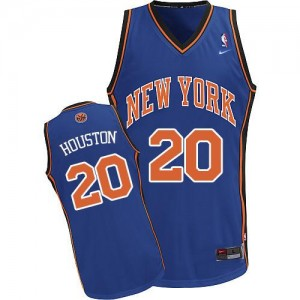 Maillot NBA Bleu royal Allan Houston #20 New York Knicks Throwback Authentic Homme Nike