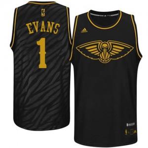 New Orleans Pelicans #1 Adidas Precious Metals Fashion Noir Swingman Maillot d'équipe de NBA Expédition rapide - Tyreke Evans pour Homme