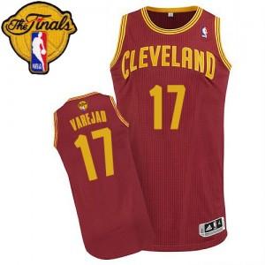 Cleveland Cavaliers Anderson Varejao #17 Road 2015 The Finals Patch Authentic Maillot d'équipe de NBA - Vin Rouge pour Homme