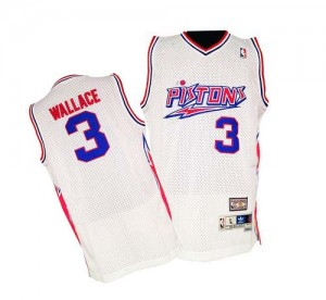 Maillot Authentic Detroit Pistons NBA Throwback Blanc - #3 Ben Wallace - Homme