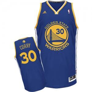 Maillot NBA Golden State Warriors #30 Stephen Curry Bleu royal Adidas Swingman Road - Homme