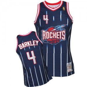 Maillot NBA Bleu marin Charles Barkley #4 Houston Rockets Hardwood Classic Fashion Authentic Homme Mitchell and Ness