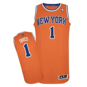New York Knicks #1 Adidas Alternate Orange Authentic Maillot d'équipe de NBA en ligne pas chers - Alexey Shved pour Homme