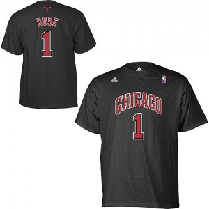Tee-Shirt NBA Chicago Bulls #1 Derrick Rose Noir Adidas Game Time - Homme