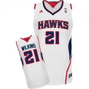 Maillot Adidas Blanc Home Swingman Atlanta Hawks - Dominique Wilkins #21 - Homme