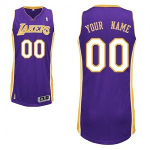 Maillot NBA Violet Authentic Personnalisé Los Angeles Lakers Road Homme Adidas