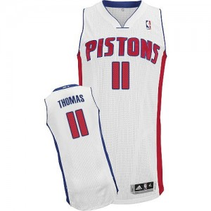 Maillot NBA Authentic Isiah Thomas #11 Detroit Pistons Home Blanc - Homme