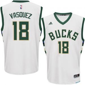 Milwaukee Bucks #18 Adidas Home Blanc Authentic Maillot d'équipe de NBA Vente pas cher - Greivis Vasquez pour Homme