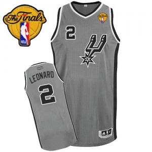 Maillot NBA San Antonio Spurs #2 Kawhi Leonard Gris argenté Adidas Authentic Alternate Finals Patch - Enfants