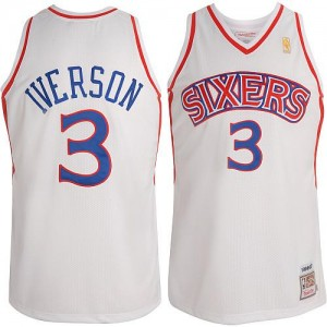 Maillot NBA Philadelphia 76ers #3 Allen Iverson Blanc Adidas Swingman Throwback - Enfants