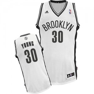 Brooklyn Nets Thaddeus Young #30 Home Swingman Maillot d'équipe de NBA - Blanc pour Enfants
