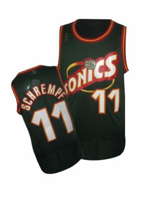 Oklahoma City Thunder Detlef Schrempf #11 SuperSonics Throwback Authentic Maillot d'équipe de NBA - Vert pour Homme