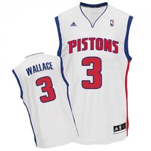 Detroit Pistons Ben Wallace #3 Home Swingman Maillot d'équipe de NBA - Blanc pour Homme