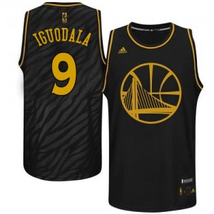 Maillot Adidas Noir Precious Metals Fashion Authentic Golden State Warriors - Andre Iguodala #9 - Homme