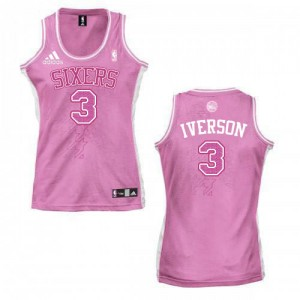 Maillot NBA Philadelphia 76ers #3 Allen Iverson Rose Adidas Authentic Fashion - Femme