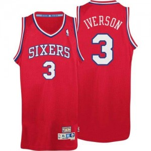 Maillot NBA Authentic Allen Iverson #3 Philadelphia 76ers Throwack Rouge - Homme