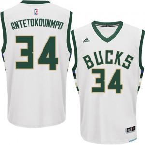 Maillot NBA Blanc Giannis Antetokounmpo #34 Milwaukee Bucks Home Swingman Homme Adidas