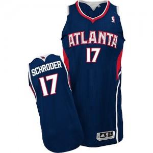 Atlanta Hawks Dennis Schroder #17 Road Authentic Maillot d'équipe de NBA - Bleu marin pour Homme