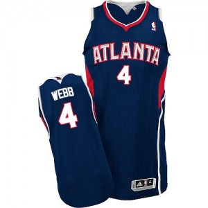 Maillot NBA Authentic Spud Webb #4 Atlanta Hawks Road Bleu marin - Homme