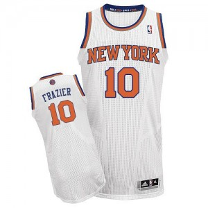 Maillot Authentic New York Knicks NBA Home Blanc - #10 Walt Frazier - Homme