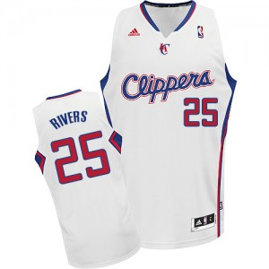 Maillot NBA Blanc Austin Rivers #25 Los Angeles Clippers Home Swingman Homme Adidas