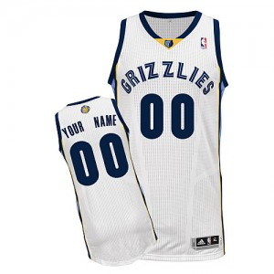 Maillot Adidas Blanc Home Memphis Grizzlies - Authentic Personnalisé - Enfants