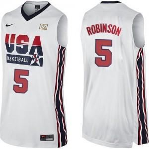 Team USA #5 Nike 2012 Olympic Retro Blanc Swingman Maillot d'équipe de NBA Promotions - David Robinson pour Homme