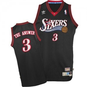 "Maillot NBA Authentic Allen Iverson #3 Philadelphia 76ers ""The Answer"" Throwback Noir - Homme"