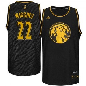 Maillot NBA Minnesota Timberwolves #22 Andrew Wiggins Noir Adidas Authentic Precious Metals Fashion - Homme