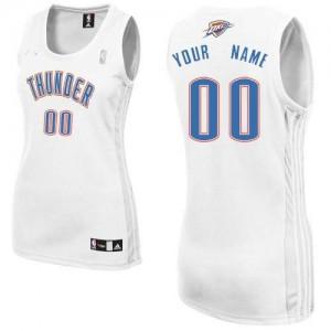 Oklahoma City Thunder Personnalisé Adidas Home Blanc Maillot d'équipe de NBA Braderie - Authentic pour Femme