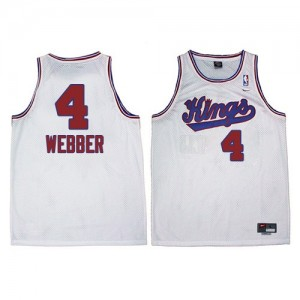 Maillot NBA Sacramento Kings #4 Chris Webber Blanc Adidas Authentic New Throwback - Homme