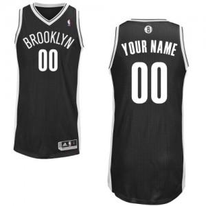 Brooklyn Nets Authentic Personnalisé Road Maillot d'équipe de NBA - Noir pour Enfants