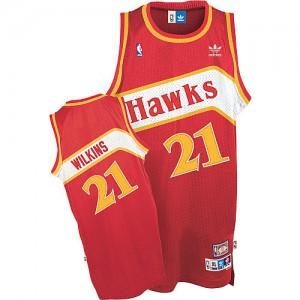 Atlanta Hawks Dominique Wilkins #21 Throwback Swingman Maillot d'équipe de NBA - Rouge pour Homme