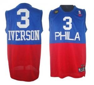 Maillot Authentic Philadelphia 76ers NBA 10TH Throwback Rouge Bleu - #3 Allen Iverson - Homme