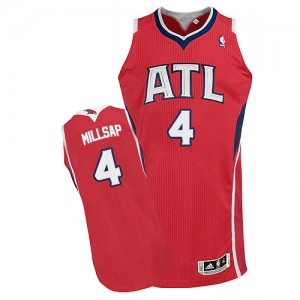 Maillot NBA Rouge Paul Millsap #4 Atlanta Hawks Alternate Authentic Homme Adidas