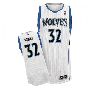 Minnesota Timberwolves #32 Adidas Home Blanc Authentic Maillot d'équipe de NBA Soldes discount - Karl-Anthony Towns pour Homme